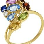 Кольцо с бриллиантом, сапфиром, топазами, аметистом, гранатом, цитроном