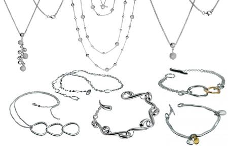 Серебренная коллекция колье и браслетов в интерент-магазине Shop.JewelGold.ru