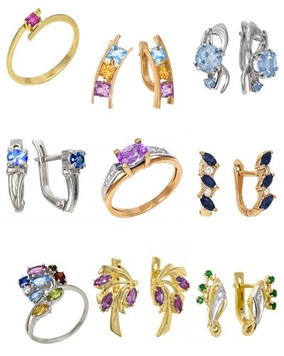 Украшения с драгоценными камнями на Shop.JewelGold.ru
