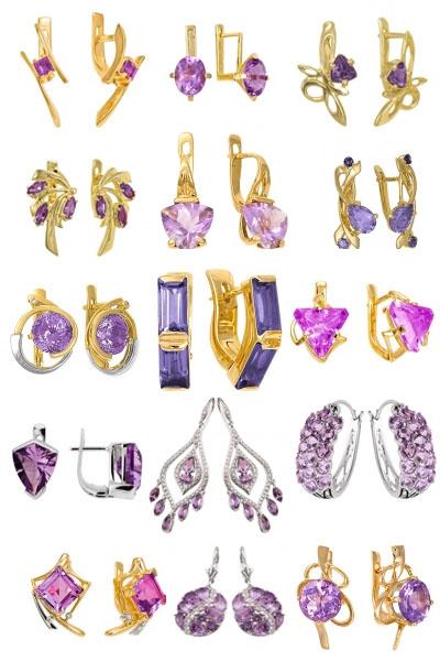 Серьги из золота и серебра с аметистами на Shop.JewelGold.ru