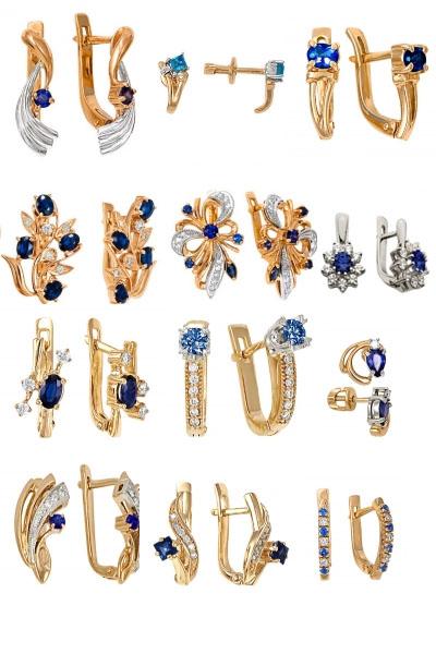 Серьги с сапфирами на Shop.JewelGold.ru