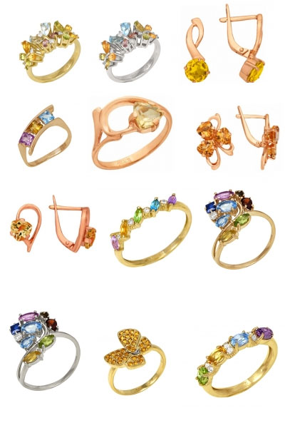 Ювелирные украшения с цитрином на Shop.JewelGold.ru