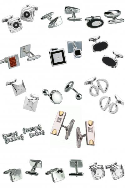Запонки из серебра с бриллиантами на Shop.JewelGold.ru