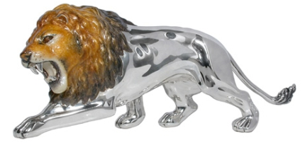 Статуэтка Лев серебро, эмаль