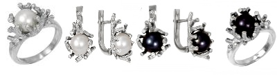 Серьги и кольца с жемчугом и бриллиантами