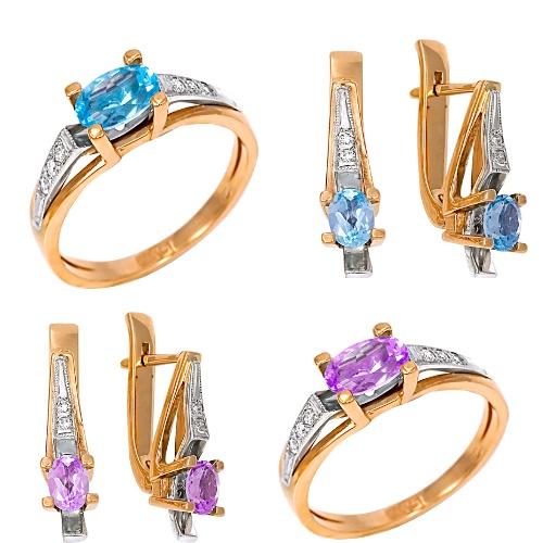 Кольца и серьги с полудрагоценными камнями