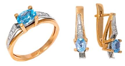 Серьги и кольцо с топазами и бриллиантами