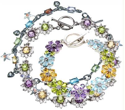 Браслеты из серебра с ювелирными камнями