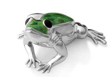 Статуэтка Лягушка из серебра с эмалью