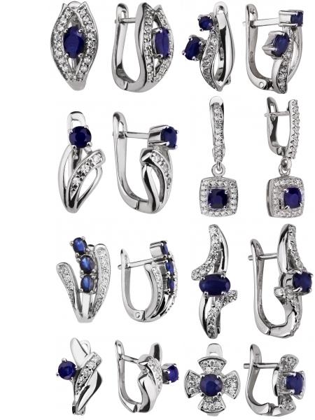 Серебряные серьги с сапфирами на Shop.JewelGold.ru