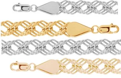 Золотая цепь плетения Ромб с тройной алмазной огранкой