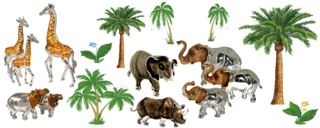 Статуэтки слонов, жирафов, бегемотов, носорогов на GiftButik.ru