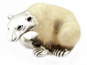 Статуэтка белый медведь из серебра на www.giftbutik.ru