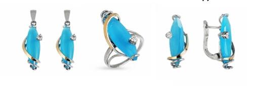 Серебряные украшения Yaffo с золотом, голубым кварцем и фианитом