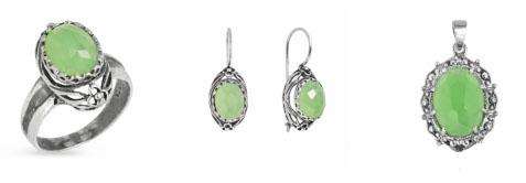 Серебрянные украшения Yaffo с зеленым кварцем