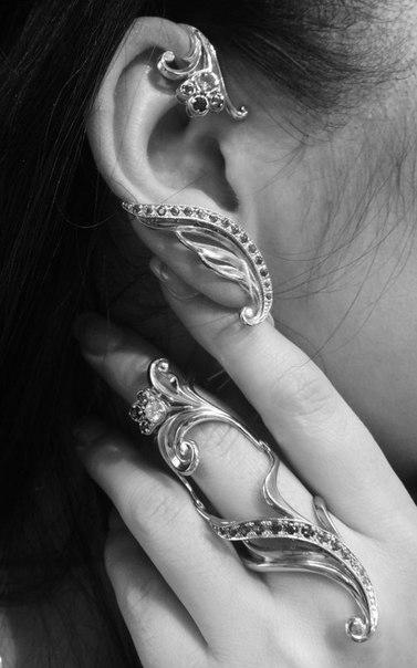 Серебряное кольцо на две фаланги Узор Утум с фианитами