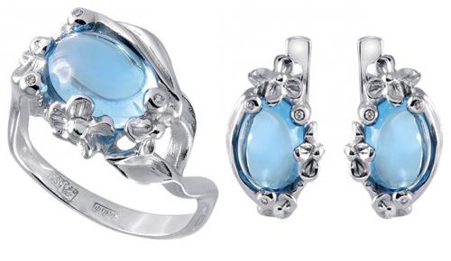 Золотые серьги и кольцо с бриллиантами и топазами