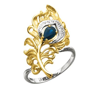 Золотое кольцо с бриллиантами ПЕРО ПАВЛИНА