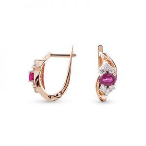 Серьги с рубином и бриллиантами из красного золота 1000801506241