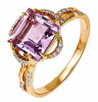Золотое кольцо с аметистом K1355