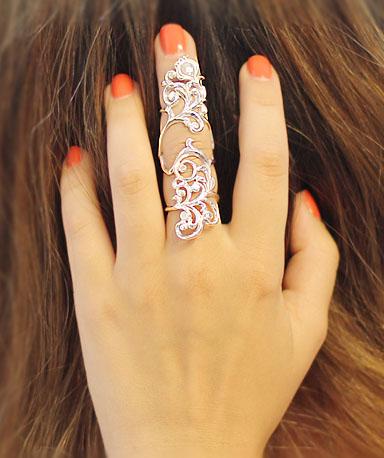 Серебряное кольцо на две фаланги