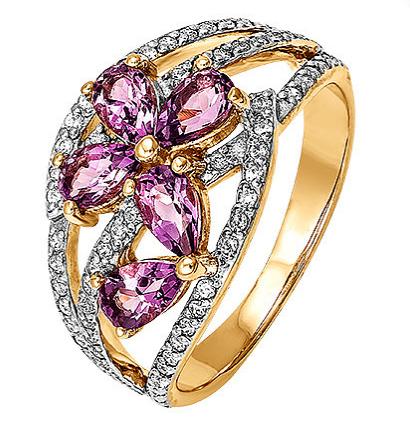 Золотое кольцо с аметистами