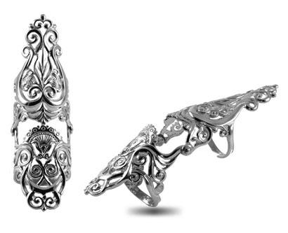 Серебряное кольцо на две фаланги Узор Утум