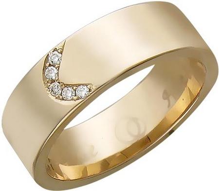 Широкое обручальное кольцо из золота с бриллиантами «Вместе навсегда»