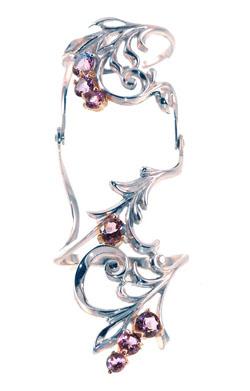 Серебряное кольцо на две фаланги Узор Утум K171