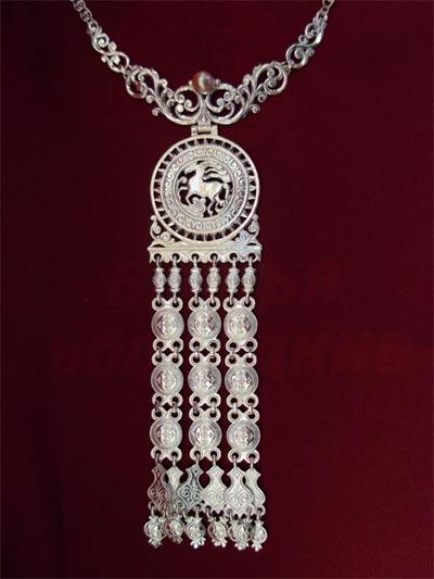 Серебряное якутское колье Узор Утум L028