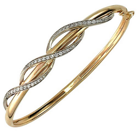 Замкнутый браслет с фианитом из бело-красного золота