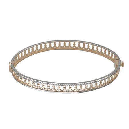 Шарнирный браслет с фианитом из красного золота