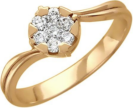 Кольцо малинка из золота с бриллиантами