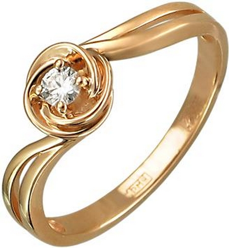 Кольцо волна из золота с бриллиантами