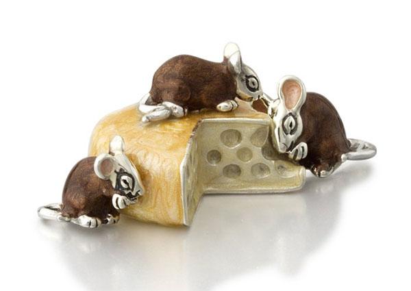Статуэтка Мыши с сыром серебро