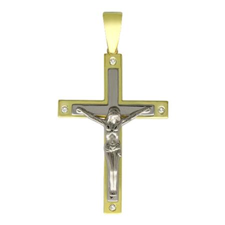 Крестик - подвеска золотой с бриллиантом