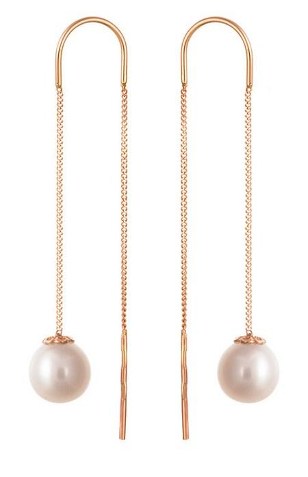 Серьги-протяжки золотые с жемчугом