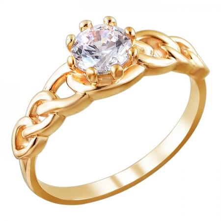 Кольцо серебряное с позолотой 01К156453А