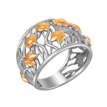 Кольцо серебряное с позолотой 01К0510923АР