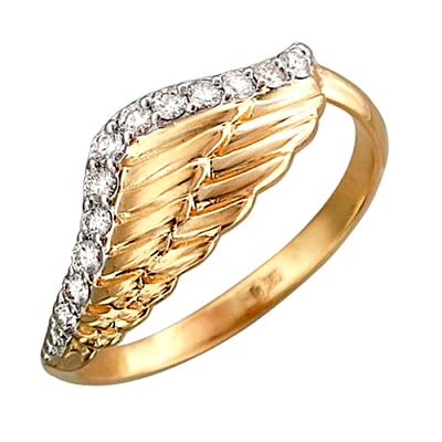Кольцо с бриллиантами и з желтого золота