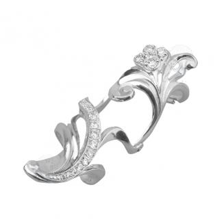 Серебряное кольцо на две фаланги Узор Утум с фианитами K114