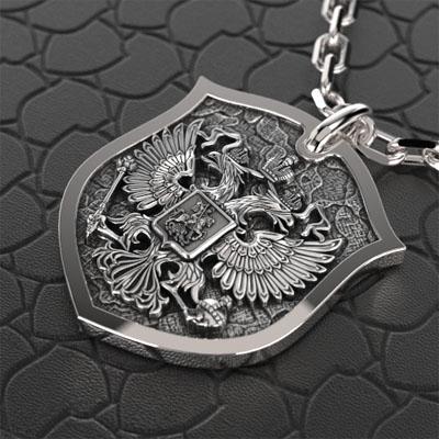Серебряный амулет из коллекции Герб России